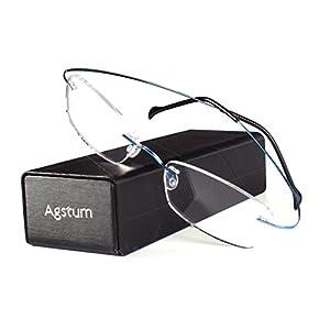 Agstum Pure Titanium Rimless Frame Prescription Hingeless Eyeglasses Rx (Blue, 55)