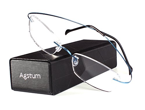 Agstum Pure Titanium Rimless Frame Prescription Hingeless Eyeglasses Rx (Blue, 55)