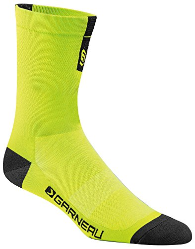 Trade Mid Cuff Sock - Louis Garneau Conti Long Performance Cycling Socks for Men and Women, Yellow/Black, Large/X-Large