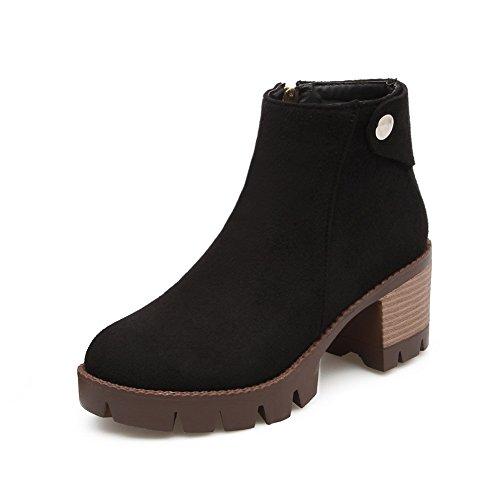 BalaMasa Womens Metal Ornament Chunky Heels Zipper Imitated Suede Boots Black kcTLMa4e