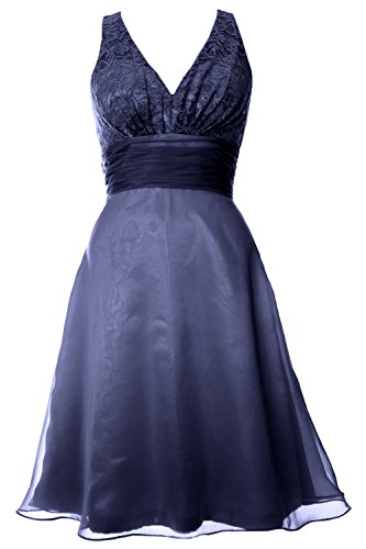 MACloth Women V Neck Chiffon Lace Long Prom Dress Formal Party Evening Ball Gown (EU40, Azul Real)