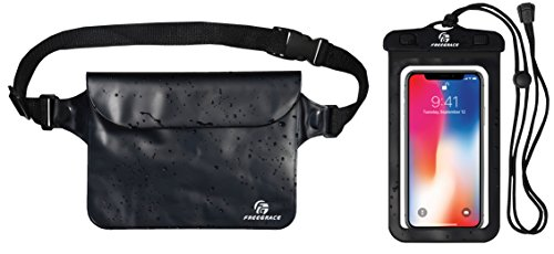 - Premium Waterproof Pouch Set with Waist / Shoulder Strap - Best Way to Keep Your Phone and Valuables Dry and Safe - Perfect for Boating Swimming Snorkeling Kayaking Beach Water Parks (Black + Case)