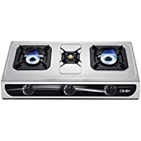 CLIKON - TRIPLE / 3 BURNER GAS STOVE, STAINLESS STEEL BODY, BRASS BURNERS, AUTOMATIC IGNITION, SILVER - CK4253