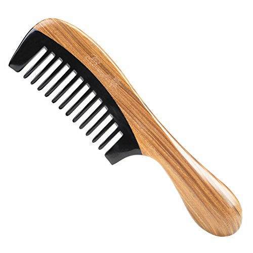 Wide Tooth Hair Comb for Curly Hair - Breezelike No Static Wooden Detangling Comb - Natural Sandalwood Buffalo Horn Comb for Women and ()