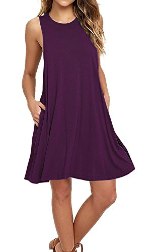 AUSELILY Women's Sleeveless Pockets Casual Swing T-Shirt Dresses (L, Purple)
