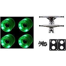 65mm Green LED WHEELS Night Light Longboard Combo 180mm Trucks/Bearings/Risers