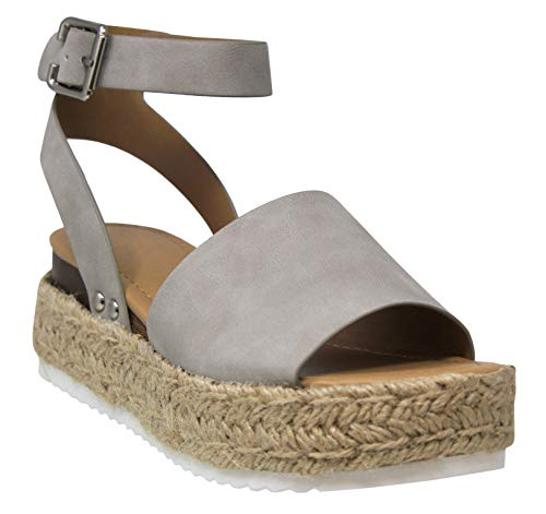 5ceb37203bf MVE Shoes Women's Ankle Strap Flat Espadrilles - Cute Summer Platforms  Sandals - Studded Casual Shoes, Grey nb Size 10