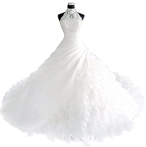 Borje High Collar Pears Long Train Wedding Dress Bridal Gown