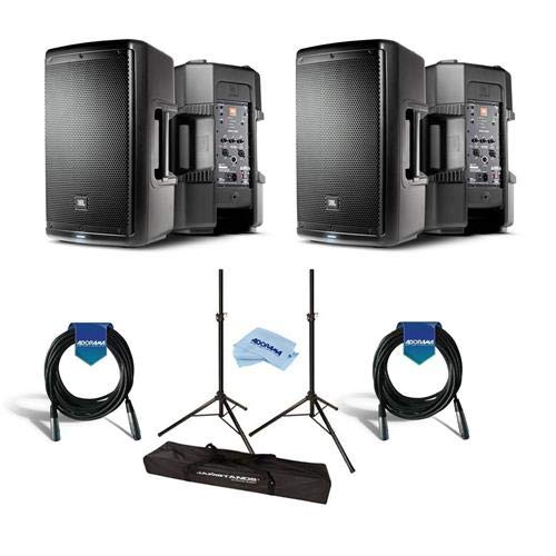JBL 2 Pack EON610 10in Class D Two-Way Multipurpose Self-Powered Sound Reinforcement Speaker, 60Hz-20kHz, Single - Bundle with Ultimate JamStands JS-TS50 Tripod-Style Speaker Stand 6' Pair, And - Reinforcement Way Two Sound
