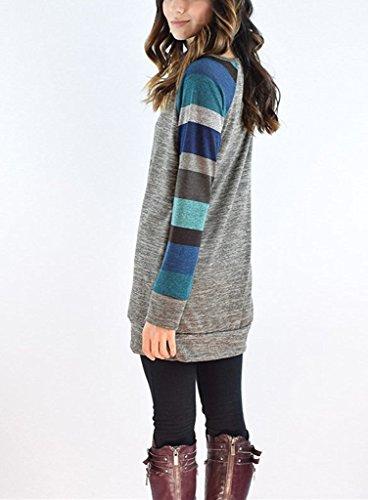 Minetom Cuello Redondo Verano Moda Camiseta Para Mujer Blusa Tops Sweater Material Cómodo Sentirse Bien Blouse Suéter Hombro Raya T Shirts Azul