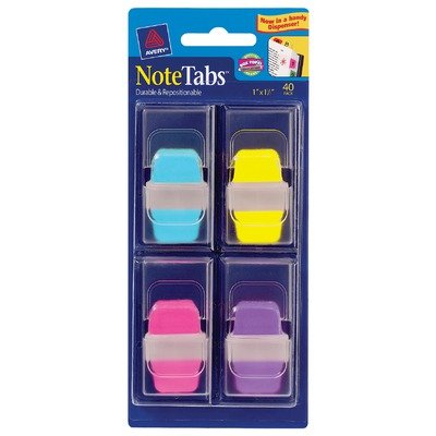 Avery Mini NoteTabs, 1 x 1.5 Inch Round Edge, Assorted Colors, Pack of 40 (16359)