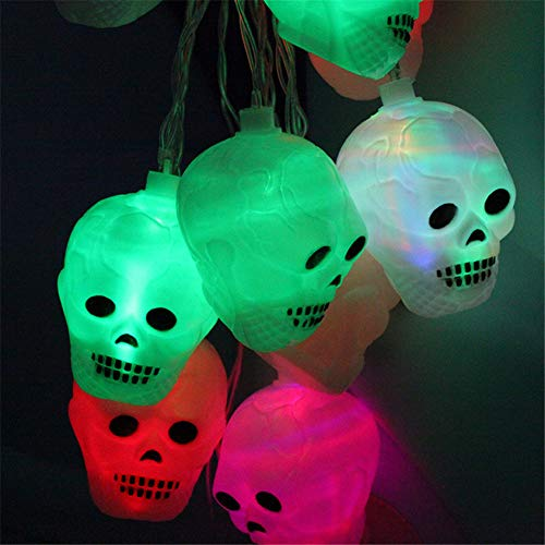 Candy86 Ghost Head Halloween Lights String Lights Battery Powered for Bar Holiday Home Halloween Theme Parties Decoration Supplies (1.2 M 10LED, -