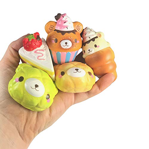 Limited, Licensed, Scented Creamiicandy Super Mini Sweets Collection! Grab Bag of 5 Super Mini Squishies! Melon Bun, Yummiibear Cornet!