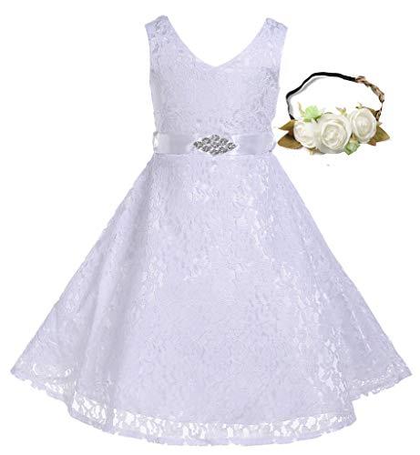 Bow Dream Lovely Lace V-Neck Flower Girl Dress White 6