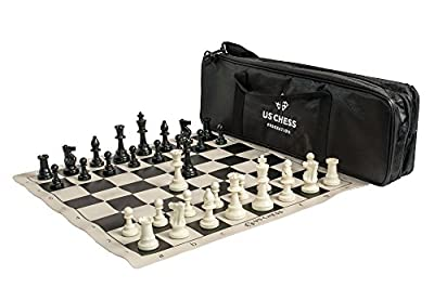 Supreme Triple Weighted Chess Set Combo - by The US Chess Federation (Black)