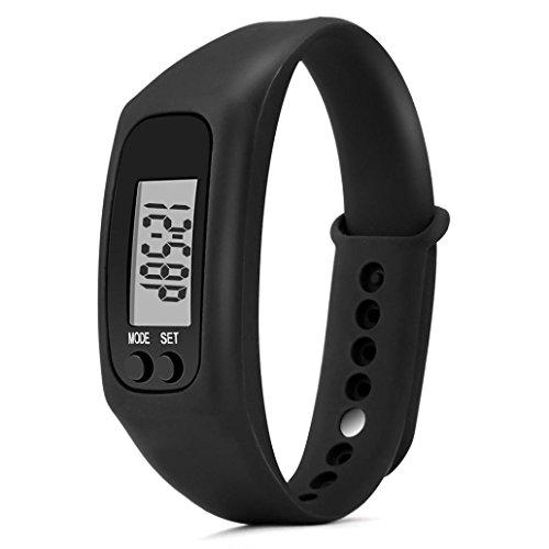 Gotd Sport Digital Silica Gel Bracelet Pedometer for Women Men Kids Boy Girl Casual Wholesale Luxury Fashion Calorie Counter Digital LCD Walking Distance Run Step Watch (Black)