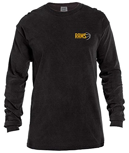 Image One NCAA Virginia Commonwealth Rams Basketball Outline Long Sleeve Comfort Color Tee, Large,Black