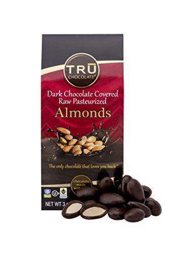 TRU Chocolate 72% Dark Chocolate Covered Almonds - Gluten Free, NON-GMO, Vegan, Dairy Free, Kosher, All Natural, Sugar Free (Chocolate No Sugar)