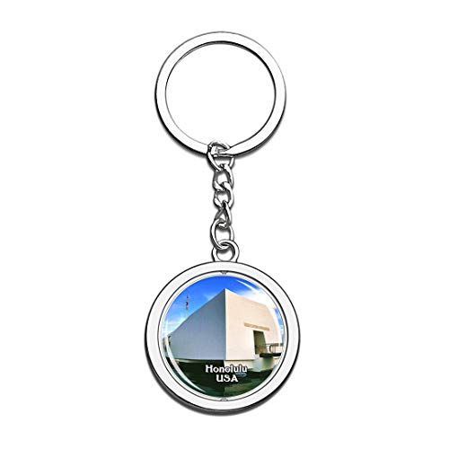 USA United States Keychain USS Arizona Memorial Honolulu Key Chain 3D Crystal Spinning Round Stainless Steel Keychains Travel City Souvenirs Key Chain Ring -