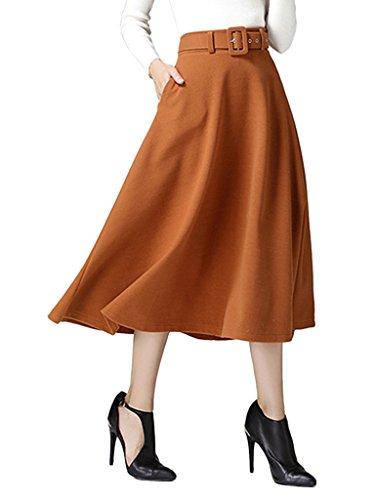 CR Women's Brown High Waist A-line Flared Long Skirt Winter Fall Midi Skirt Brown Medium