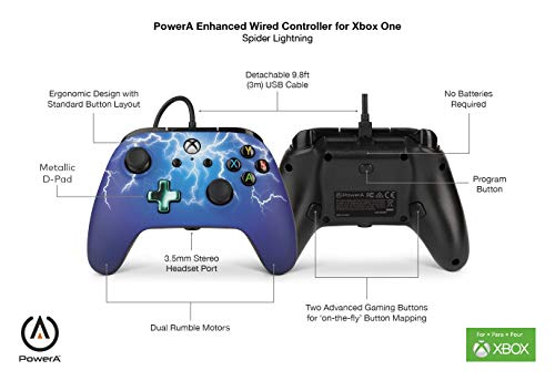 PowerA Enhanced Wired Controller for Xbox One - Spider Lightning 6