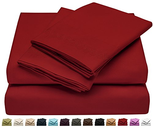 Soft Sheet Set - Brushed Microfiber Luxury Comfort - 1800 Thread Count Bedding Linens - California King - Embroidered Design - Burgundy Red - Victoria Collection by Jessie Porter