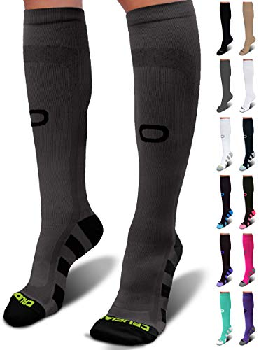 Crucial Compression Socks for Men & Women (20-30mmHg) - Best Graduated Stockings for Running, Athletic, Travel, Pregnancy, Maternity, Nurses, Medical, Shin Splints, Support, Circulation & Recovery (Running Socks Knee)