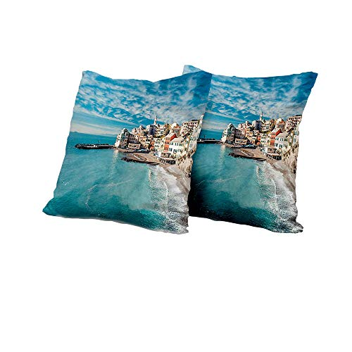 Body Pillowcase Italy,Panorama of Old Italian Fishing Village Beach in Old Province Coastal Charm Image,Turquoise Cushion Cover Set of 2 16x16 INCH 2pcs