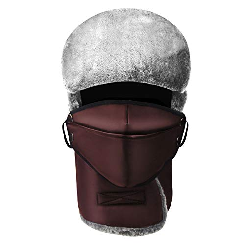 (MOOKZZ Winter Knit Beanie Women Slouchy Hat, Double Layer Thick Wool Fleece Skull Ski Cap, Men Trapper Fur Hats Brown)