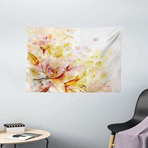 Ambesonne Shabby Flora Tapestry, Watercolored Lilies Flowers Buds Leaves Colored Marks Artwork, Wide Wall Hanging for Bedroom Living Room Dorm, 60 X 40 , Pink Peach