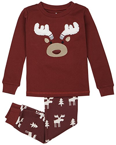 Kid's Holiday Sleepwear, Matching 2-Piece Quality Stretchy Cotton Pajama Set,burgundy,6 ()