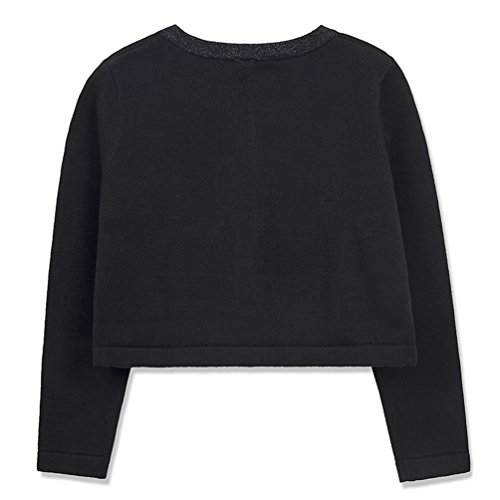 Benito & Benita Girl's Sweater Crew Neck Cardigan Long Sleeve Cotton Sweater with Bows Black/Red for 3-12Y by Benito & Benita (Image #1)