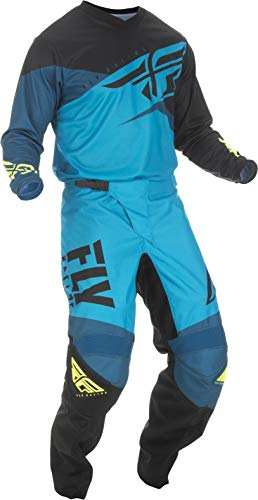 Fly Racing - 2019 F-16 (Mens Blue & Black & HI-VIS Large/34W) MX Riding Gear Combo Set, Motocross Off-Road Dirt Bike Light Weight Durable Jersey & Mesh Comfort Liner Stretch Pre Shaped Knees Pant (Real Dirt Bikes For Racing)
