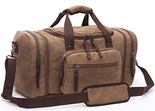 Aidonger 20.8' Large Canvas Duffel Bag Weekender Bag Carry on Travel Tote Bag with Strap (Coffee)