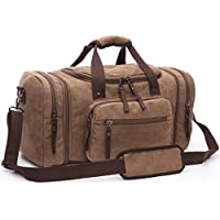 Aidonger Vintage Canvas Sports Duffel Bag with Shoulder Strap (Coffee)