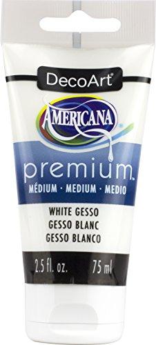 DecoArt White Gesso Americana Premium Acrylic Medium Paint Tube 2.5oz