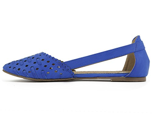 Greatonu Women's Laser Cut Flat Ballerina Ballet Shoes Blue hRtMRJe1H