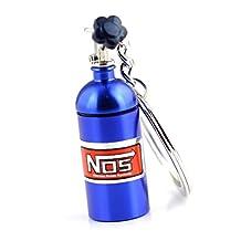 Maycom® Creative New NOS Mini Nitrous Oxide Bottle Keyring Key Chain Ring Keyfob Stash Pill Box Storage Turbo Keychain (Blue)