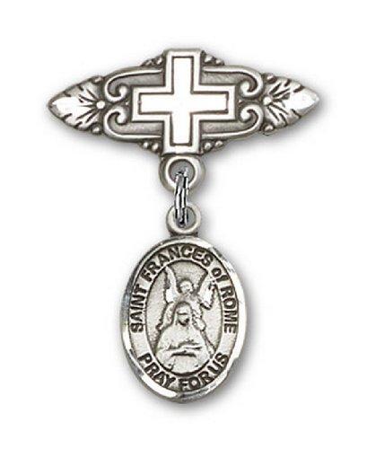 Icecarats Créatrice De Bijoux En Argent Sterling St. Françoise Romaine Broche De Badge Charme Avec Une Croix X 3/4