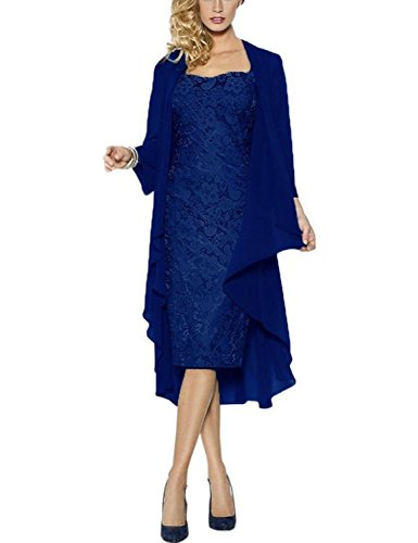 Chiffon Lace 2 Pieces Mother of the Bride Short Formal Gowns Dress with Jacket Royal Blue US2