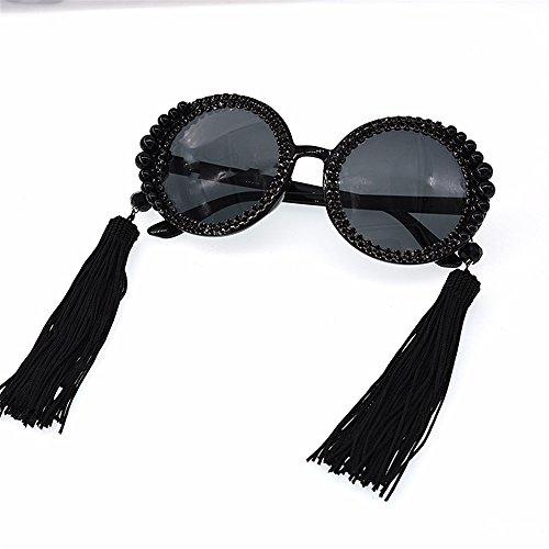Gafas de Playa de Elegancia Sol Gafas de de tamaño Borlas Grandes Mujeres para Sol y Redondas Moda Perla Las Gafas clásicas la Gran de de Moda Proteccion de la Desfile de del la Tonos de Sol Negras wfSq4zS