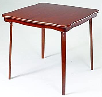Baron Barclay Folding Cherry Finish Wood Card Table with Shaped Edges