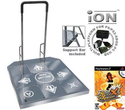 Dance Dance Revolution DDR iON Arcade Metal Dance Pad with Handle Bar for PS2 + Dance Dance Revoluti