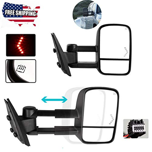 Sodoop US Tow Mirrors (Included Plane Mirror and Convex Mirror) Power Heated LED Signals for 07-13 Chevy Silverado 1500 2500 3500,Heated Power defrost (Shipped by USA) (Samsung 21 In Tv)