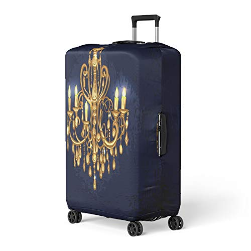 - Pinbeam Luggage Cover Gold Golden Chandelier in Dark Room Candles Baroque Travel Suitcase Cover Protector Baggage Case Fits 22-24 inches