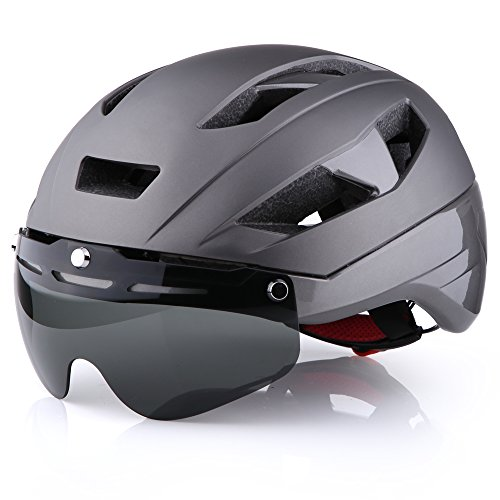 Base Camp Moon Road Bike Helmet with Removable Eye Shield Visor for Adult Cycling - Medium Size 21.75-23.25 Inches (Gray)