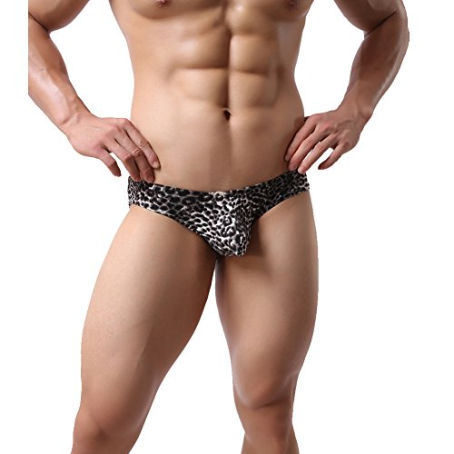 K-Men Men's Leopard Underwear The Elastic Breathable Briefs and Men's Underwear Classic Briefs by K-Men