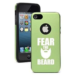 iPhone 5 5s Aluminum & Silicone Hard Case Cover Fear the Beard (Green)