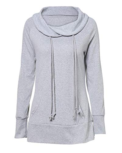 KENANCY Women Cowl Neck Sweatshirts Long Sleeve Casual Tunics Pullover with Kangaroo Pocket Gray L