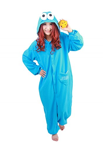 Unisex Fleece Adult Cookie Monster Onesies Animal Cosplay Costume Halloween Xmas Pajamas (S)